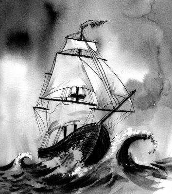 Cuadro Antigua nave en el mar tempestuoso