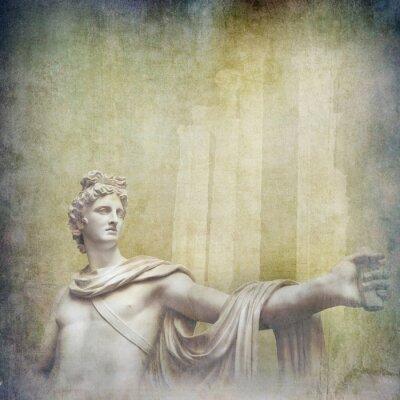 Cuadro Antiguas esculturas helenísticas en el fondo del grunge