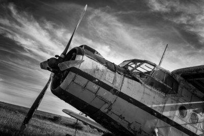 Cuadro Antiguo avión en el campo en blanco y negro