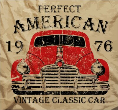 Cuadro Antiguo coche americano de la vendimia T shirt de diseño gráfico
