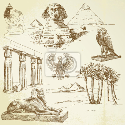 Antiguo Egipto - conjunto de dibujado a mano