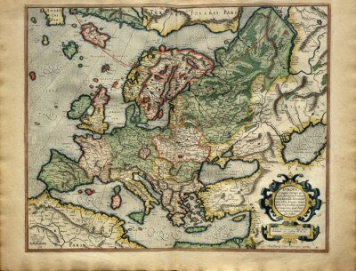 Cuadro Antiguo mapa de Europa, impreso en 1587 por Mercator