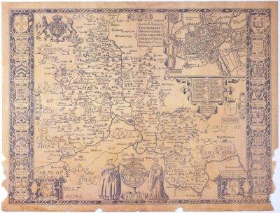 Cuadro Antiguo mapa Oxfordshire