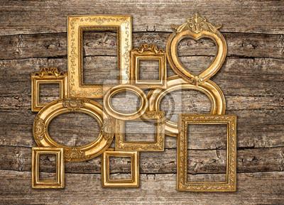 cuadro antiguo marco dorado rstica pared de madera