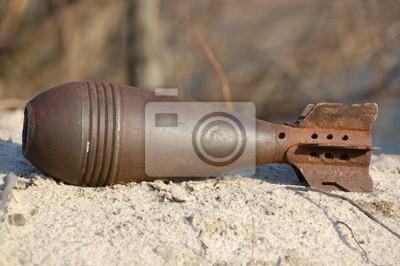 Cuadro Antiguo mortero oxidado II Guerra Mundial