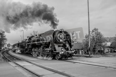 Cuadro Antiguo tren de vapor en blanco y negro