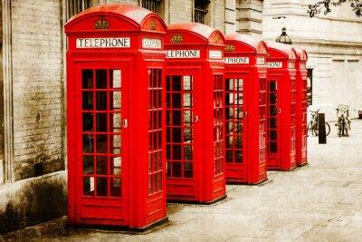 Cuadro antik texturiertes Bild roter Telefonzellen en Londres