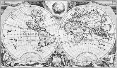 Cuadro Antique world map of the 18th century, in black and white