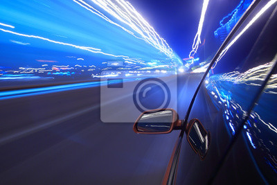 Cuadro apresurarse coche, el desenfoque de movimiento ligero steet.