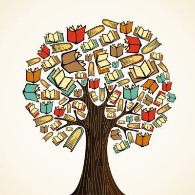 Cuadro Árbol Concepto de educación con libros