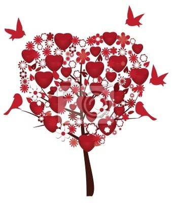Arbol De Amor Con Corazones Rojos Flores Y Pajaros Pinturas Para La