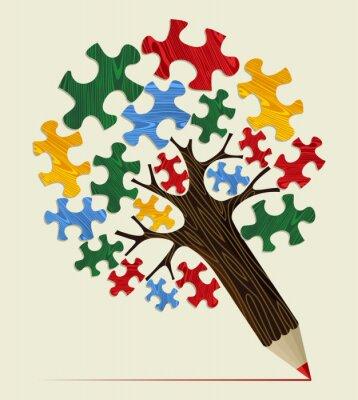Cuadro Árbol de concepto lápiz Jigsaw estratégica