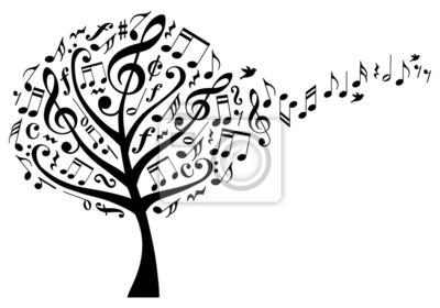 árbol De La Música Con Las Notas Musicales Vector Pinturas Para La