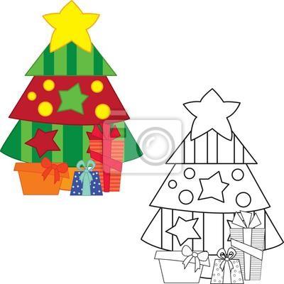 Árbol de navidad con regalos. libro para colorear. ilustración ...