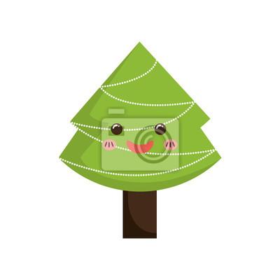 árbol De Pino Feliz Navidad Icono De Dibujos Animados Ilustración