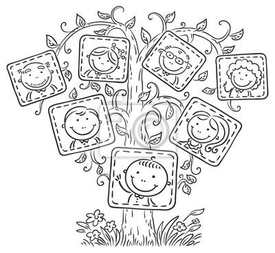 árbol Genealógico En Imágenes Contorno Blanco Y Negro Pinturas Para