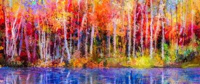 Cuadro Árboles coloridos del otoño de la pintura al óleo. Semi imagen abstracta del bosque, árboles de álamo temblón con amarillo - hoja y lago rojos. Otoño, fondo de la naturaleza de la temporada de otoño.