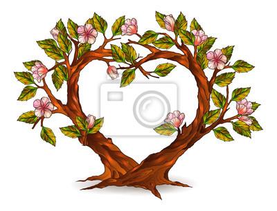 árboles En Forma De Corazón Con Flores Ilustración Pinturas Para La