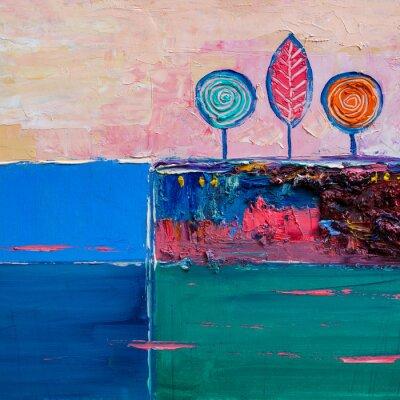 Cuadro Árboles, pintura al óleo, fondo artístico.