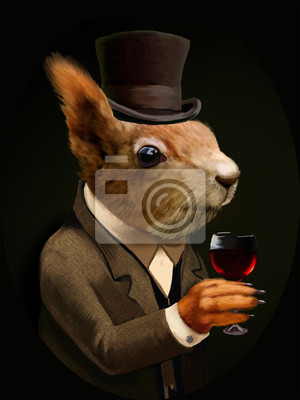 Cuadro Ardilla vestida con un vaso de vino y sombrero de copa