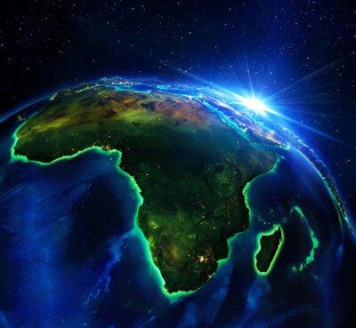 Cuadro área de tierra en África, la noche