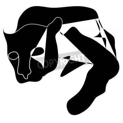 Cuadro Art cubism black silhouette of black pantera