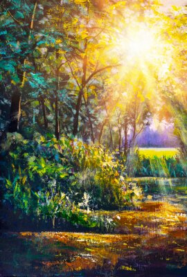 Cuadro Art painting Scenic forest of fresh green deciduous trees framed by leaves, with sun casting its warm rays through foliage