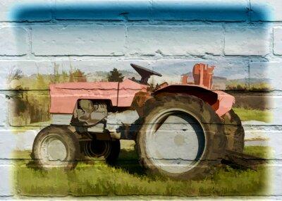 Cuadro Arte callejero, tractor agrícola