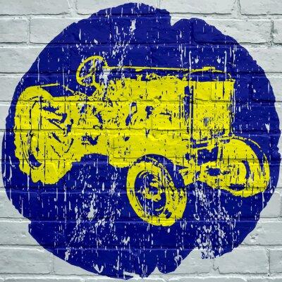 Cuadro Arte callejero. Tractor agrícola grunge