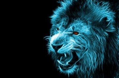 Cuadro Arte digital de la fantasía del fractal de un león en un fondo aislado