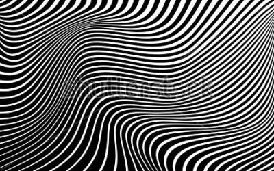 Cuadro Arte óptico abstracto fondo onda diseño blanco y negro