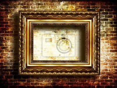 Arte oscuro - marco antiguo en la pared de ladrillo pinturas para la ...