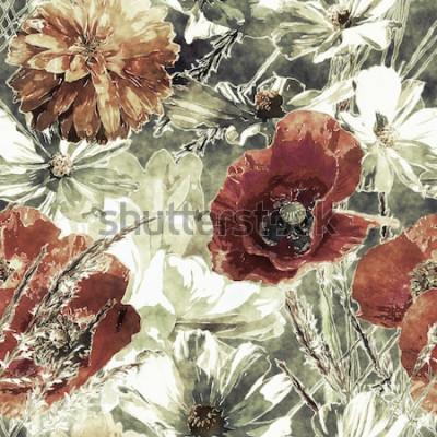 Cuadro Arte vintage acuarela colorido floral de patrones sin fisuras con amapolas rojas y blancas, peonías, asteres, hojas y hierbas sobre fondo verde oscuro