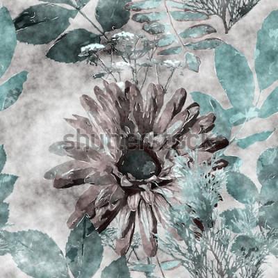 Cuadro Arte vintage acuarela colorido floral de patrones sin fisuras con gran gerbera, hojas y hierbas en el fondo