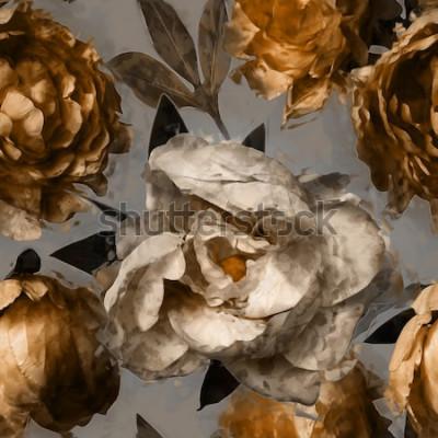 Cuadro Arte vintage floral de patrones sin fisuras con peonías blancas y doradas sobre fondo gris