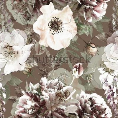 Cuadro Arte vintage lápiz floral colorido de patrones sin fisuras con rosas blancas y peonías sobre fondo verde. Doble exposición y efecto Bokeh
