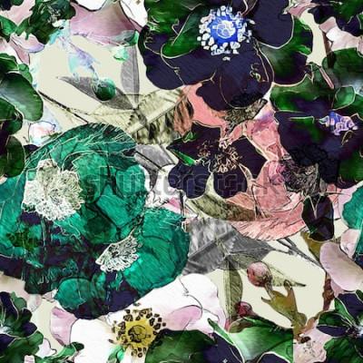 Cuadro arte vintage lápiz floral colorido de patrones sin fisuras con rosas negras y amapolas verdes sobre fondo claro. Doble exposición y efecto Bokeh