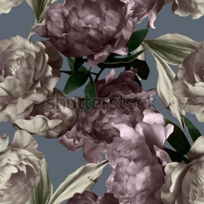 Cuadro Arte vintage monocromo gráfico y acuarela floral de patrones sin fisuras con peonías blancas y moradas sobre fondo gris