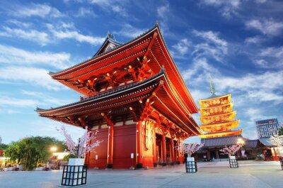 Cuadro Asakusa temple with pagoda at night, Tokyo, Japan
