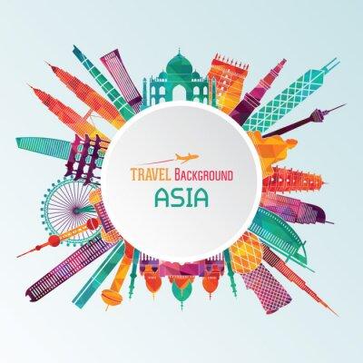 Cuadro Asia detallada silueta. Ilustración del vector
