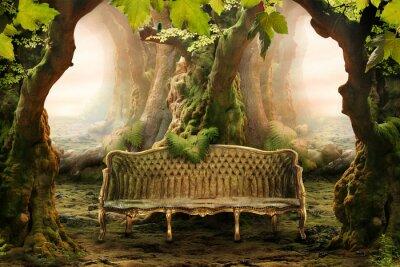 Cuadro asiento romántica en un bosque profundo