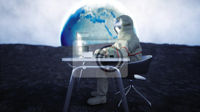 Cuadro Astronaut on the moon working with notebook . 3d rendering.
