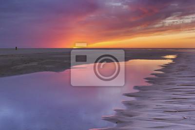 Atardecer en la playa, isla de Texel, Países Bajos