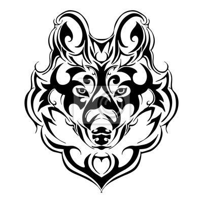 Aterrorizar Cabeza De Lobo Tatuaje Tribal Silueta Vector Aislado