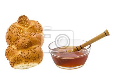 Atributos del Año Nuevo judío - Rosh Hashaná aislados en blanco
