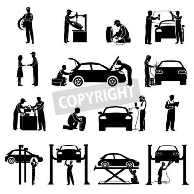 Cuadro Auto servicio iconos negro conjunto con mecánico y automóviles siluetas aislados ilustración vectorial