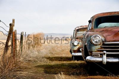 Cuadro Autos antiguos abandonados y oxidados en las zonas rurales de Wyoming.