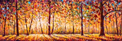 Cuadro Autumn  panorama Original oil painting on canvassunny park with red golden trees and meadow , natural seasonal background Original oil painting on canvas