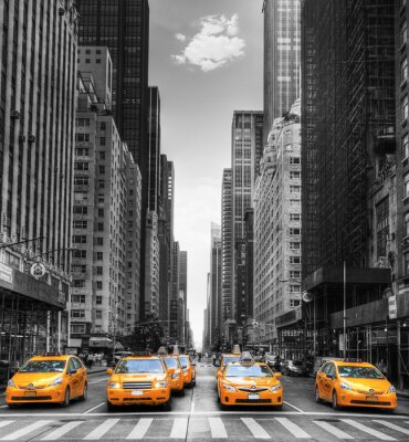 Cuadro Avenida avec des taxis a Nueva York.