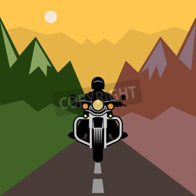 Cuadro Aventura en moto, ilustración vectorial
